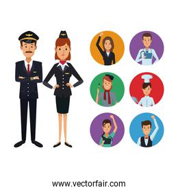 white background with full body couple pilot and stewardess with set circular frame icons group people of different professions