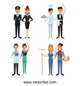 white background with full body couple male and female set people different professions