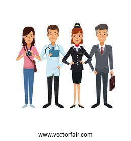 white background with group people of different professions