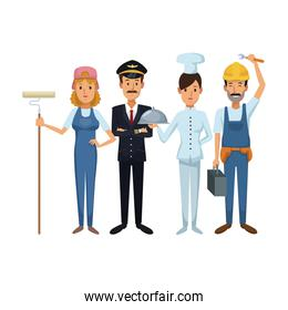 white background with group people of different professions standing