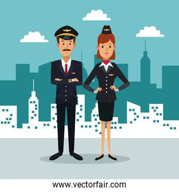 city landscape background with full body couple pilot and stewardess