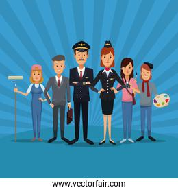 color scene with striped with full body people of different professions