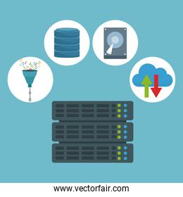 color background with rack server router and technology elements in icons