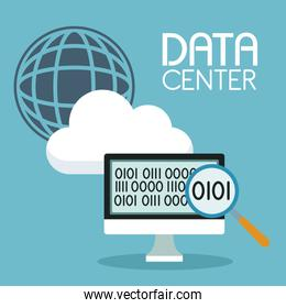 color background with global cloud storage and computer display with binary symbol and text data center