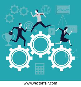 color background business growth with business people running in mechanism gears