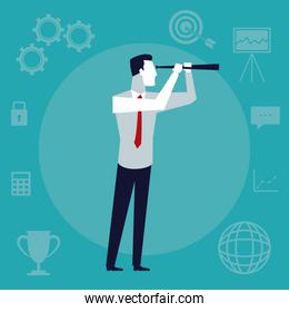 color background business growth with executive man with telescope