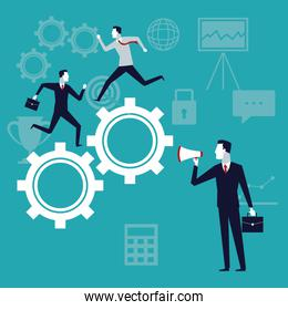 color background with executive group running in gears mechanism and businessman with megaphone