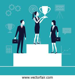 color background business growth with business people teman in podium with cup trophy