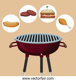 color background with grill barbecue with icons picnic food