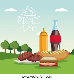 colorful poster scene landscape of picnic day with soda sauce and barbecue food in grass