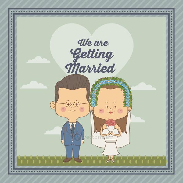 greeting card of scene sky landscape with decorative frame of just married couple bride with brown long hair and groom with glasses