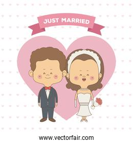 greeting card pattern of hearts of just married couple bride and groom with wavy brown hair