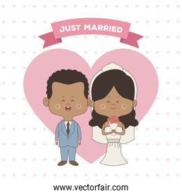 greeting card pattern of hearts of just married couple bride and groom of skin brunette