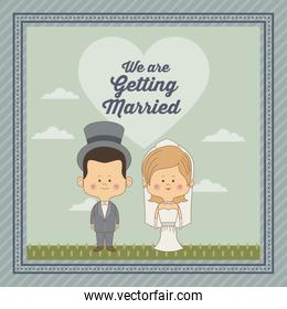 greeting card of scene sky landscape with decorative frame of just married couple bride with blonded hair and groom with hat