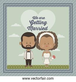 greeting card of scene sky landscape with decorative frame of just married couple bride and groom brunette