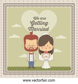 greeting card of scene sky landscape with decorative frame of just married couple bride with brown long hair and groom with glasses and redhair