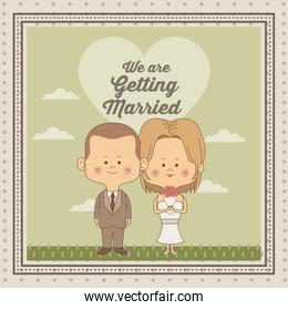 greeting card of scene sky landscape with decorative frame of just married couple bride with blonded hair and groom with haircut