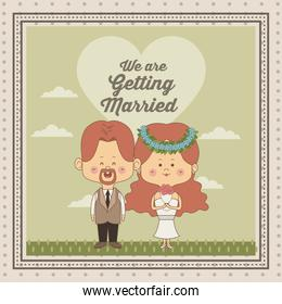 greeting card of scene sky landscape with decorative frame of just married couple bride and groom with redhair