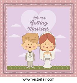 greeting card of scene sky landscape with decorative frame of just married couple bride with collected hair and blonded groom