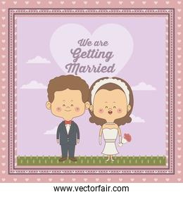 greeting card of scene sky landscape with decorative frame of just married couple bride and groom with wavy brown hair