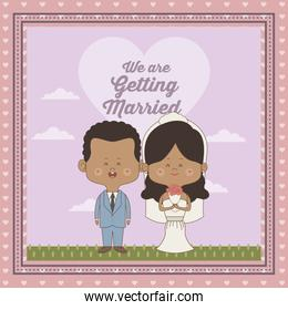 greeting card of scene sky landscape with decorative frame of just married couple bride and groom of skin brunette