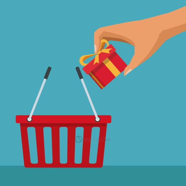 color background with shopping basket and hand depositing a gift
