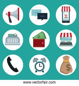 color background of circular frame icons of online shopping in devices tech