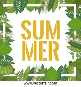 white background with border decorative green leaves and summer text inside