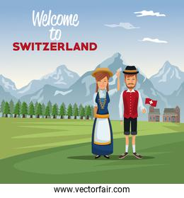 mountain landscape valley poster with traditional people with text welcome to switzerland