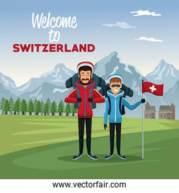 mountain landscape valley poster with tourist couple people and text welcome to switzerland