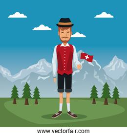 mountain landscape valley poster of switzerland with man in traditional costume with small flag