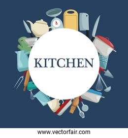 color background with circular border with different elements kitchen