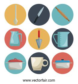 white background with set collection color of icons different elements kitchen