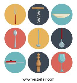 white background with set collection color of icons different utensils kitchen