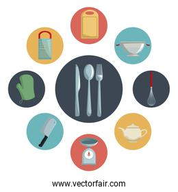 color circular icons with different utensil of kitchen inside and closeup cutlery in center