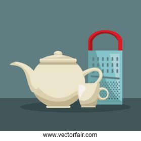 color poster of set teapot and porcelain cup with metallic grater