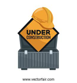 white background with suitcase of tools and diamond shape traffic signal text under construction and helmet protection