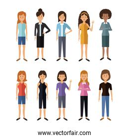 white background with full body group female people of the world