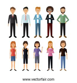 white background with full body group of men and women people of the world