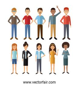 white background with full body group people of the world diversity