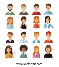 white background with set half body group people female and male