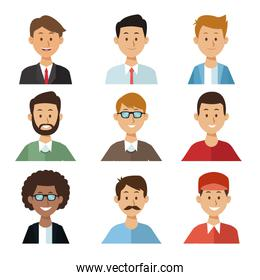 white background with set half body group people men