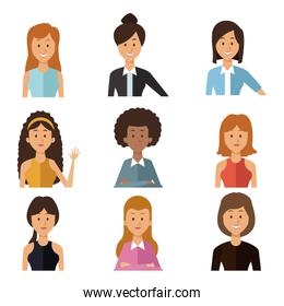 white background with set half body group people women