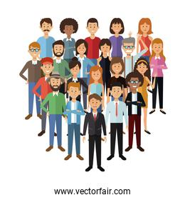 white background with set full body group people standing