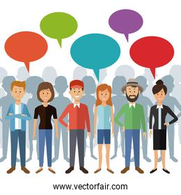 white background with full body group people standing with dialogue box and shadow behind of persons