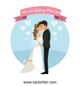 white background with color circular frame poster of newly married couple kissing