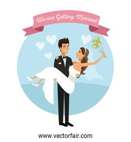 white background with color circular frame poster of newly married couple groom carrying to bride and her with bouquet flower in your hand