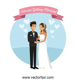 white background with color circular frame poster of newly married couple groom holding hands