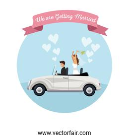 white background with color circular frame poster of newly married couple groom in vehicle