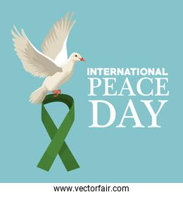 color poster pigeon flying with green lace symbol international peace day text
